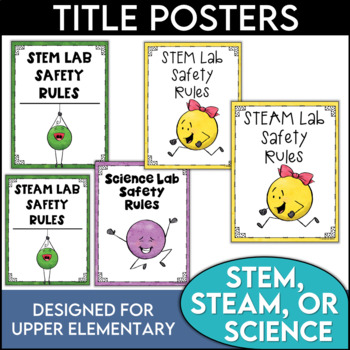 Science Safety Rules Posters featuring Dot People and Banners