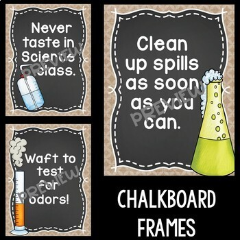 Science Safety Rules Posters in Burlap and Chalkboard
