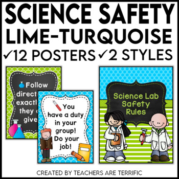Science Lab Safety Rules Posters in Lime and Bright Turquoise