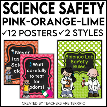 Science Lab Safety Rules Posters in Pink, Lime and Orange