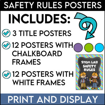 Science Lab Safety Rules Posters in Purple, Lime, and Bright Turquoise