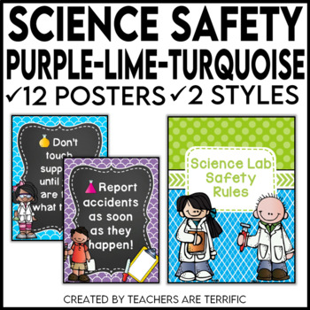 Science Safety Rules Posters in Purple, Lime, and Bright Turquoise