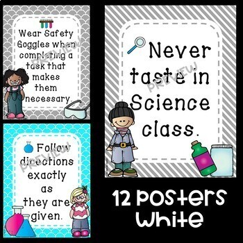 Science Lab Safety Rules Posters in Turquoise and Gray