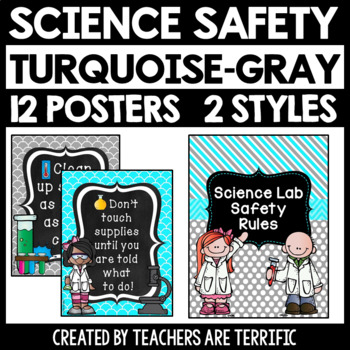 Science Safety Rules Posters in Turquoise and Gray