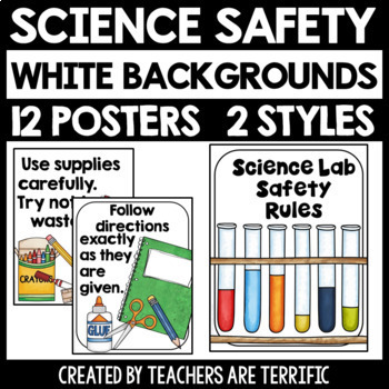 Science Lab Safety Rules Posters with White Backgrounds