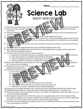 Science Lab Safety Rules and Student / Parent Contract {Back to School}
