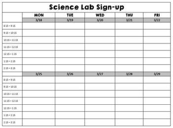 Science Lab Sign-up Sheet