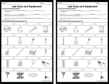 Science Lab Tools and Equipment - PowerPoint and Notes