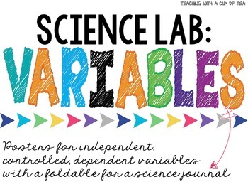 Science Lab: Variables posters and foldable for a science journal
