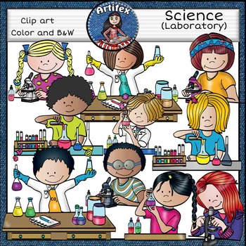 Science: Lab clip art set -Color and B&W-