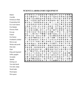 Science Laboratory Equipment Wordsearch
