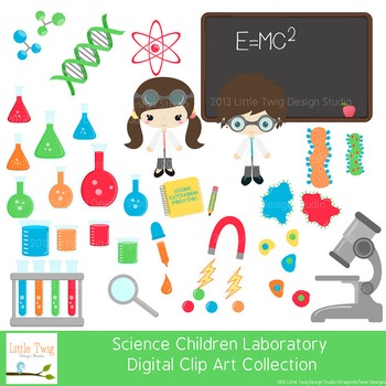 Science Laboratory Kids, Children  Digital Clipart