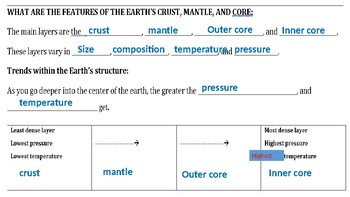 Science: Layers of the Earth: Guided Notes Answer Key PPT