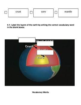 Science: Layers of the Earth and Fossils Unit Test