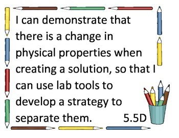 Texas Science Learning Targets
