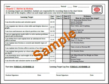 Science: Learning Target Log and Evaluation of Progress