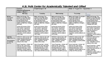 Science Lesson Plan Bundle (1st 6-Weeks)