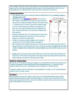 Science Lesson Plan - Comparing Birds' Physical Features