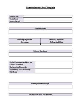 Science Lesson Plan Template