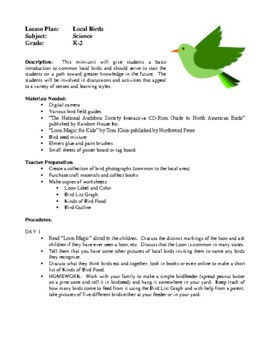 Science Lesson Plans - Colors of the Rainbow, Local Birds