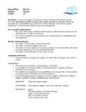 Science Lesson Plans - Dry Ice, Food and Nutrition Project