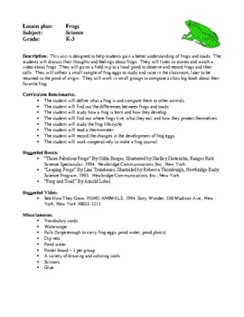 Science Lesson Plans - Frogs