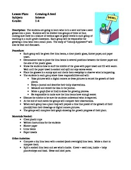Science Lesson Plans - Growing a Seed, Bird Watching