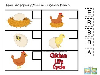 Science Life Cycle of a Chicken Beginning Sounds preschool homeschool game.