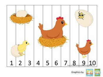 Science Life Cycle of a Chicken Number Sequence Puzzle 1-10 preschool homeschool