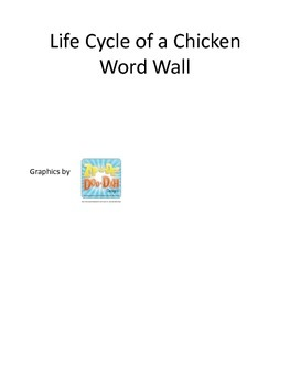 Science Life Cycle of a Chicken themed Word Wall for preschool homeschool.