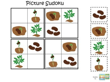 Science Life Cycle of a Plant Picture Sudoku preschool homeschool game.