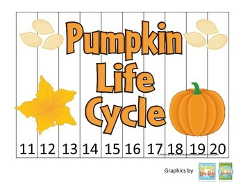 Science Life Cycle of a Pumpkin Number Sequence Puzzle 11-20 preschool homeschoo