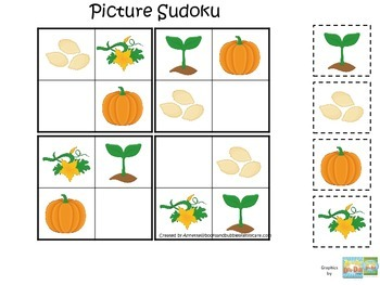 Science Life Cycle of a Pumpkin Picture Sudoku preschool homeschool