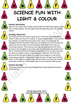 Science - Light & Colour - Detailed Lesson Plan (x2) for 4-11 Year Olds