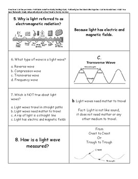 Science Light Unit Flash Cards