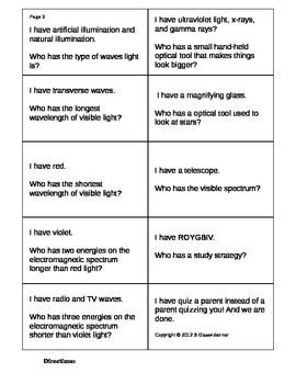 Science Light Vocabulary Activity Elementary Grade 5