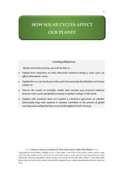 Science Literacy Activity #12 How Solar Cycles Affect Our Planet