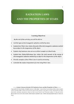 Science Literacy Activity #20 Radiation Laws and the Properties of Stars