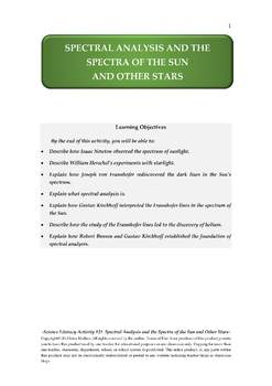 Science Literacy Activity #21 Spectral Analysis and the Spectra of Stars