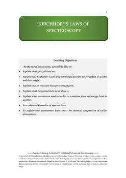 Science Literacy Activity #22 Kirchhoff's Laws of Spectroscopy