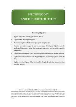 Science Literacy Activity #24 Spectroscopy and the Doppler Effect