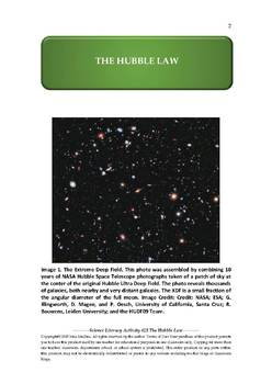 Science Literacy Activity #25 The Hubble Law