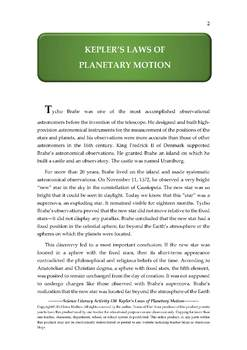 Science Literacy Activity #30 Kepler's Laws of Planetary Motion