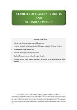 Science Literacy Activity #38 Stability of Planetary Orbits & Extrasolar Planets
