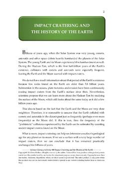 Science Literacy Activity #40 Impact Cratering and the History of the Earth