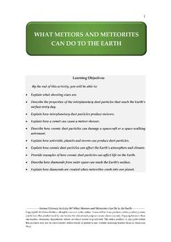 Science Literacy Activity #47 What Meteors and Meteorites Can Do to the Earth