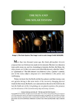 Science Literacy Activity #5 The Sun and the Solar System