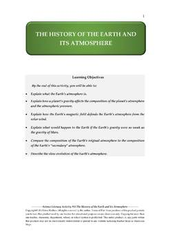 Science Literacy Activity #51 The History of the Earth and Its Atmosphere