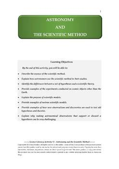 Science Literacy Activity #2 Astronomy and the Scientific Method