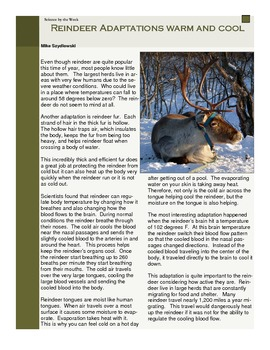 Science Literacy Articles:  Informational Texts!  Winter Set